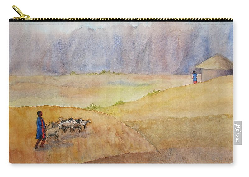 Masai Carry-all Pouch featuring the painting Masai Village by Patricia Beebe