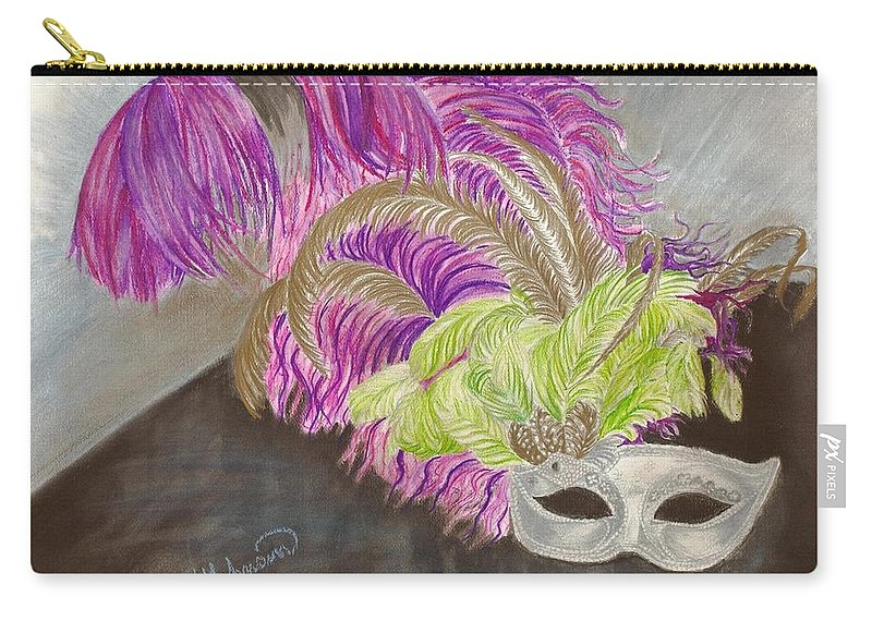 Mardi Gras Carry-all Pouch featuring the drawing Mask by Yolanda Raker