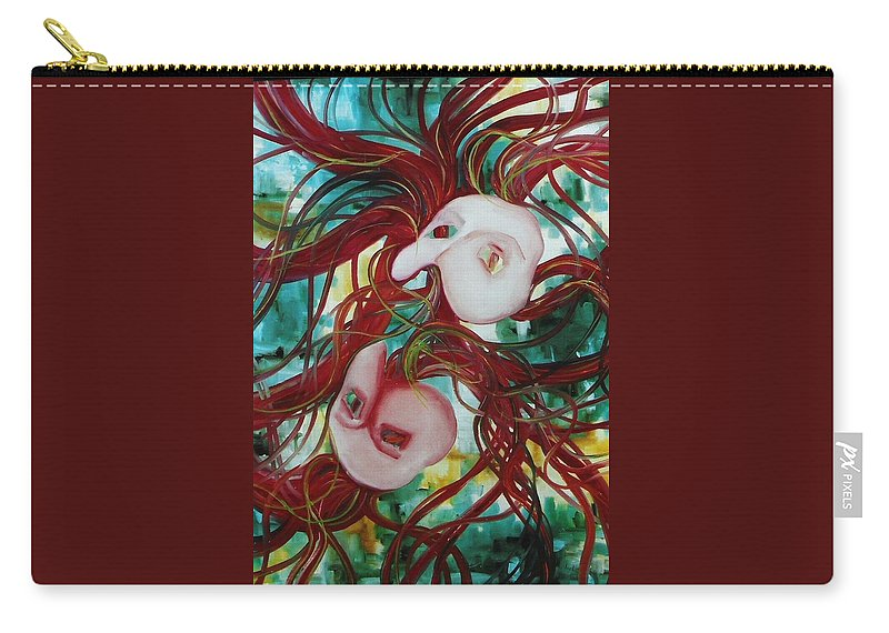 Masks Carry-all Pouch featuring the painting Masks IIi by Lord Frederick Lyle Morris - Disabled Veteran
