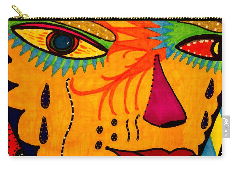 Mask Carry-all Pouch featuring the painting Masks We Wear - Face by Marie Jamieson
