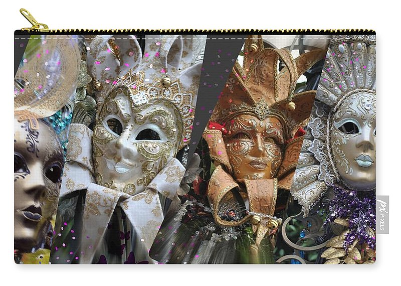Masks Carry-all Pouch featuring the photograph Masquerade Craziness by Amanda Eberly-Kudamik
