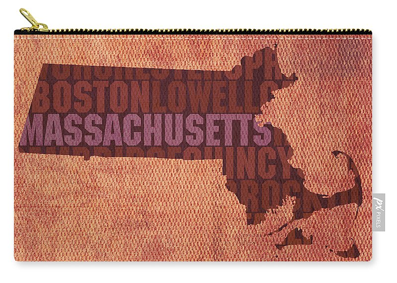 Massachusetts Word Art State Map On Canvas Carry-all Pouch featuring the mixed media Massachusetts Word Art State Map on Canvas by Design Turnpike