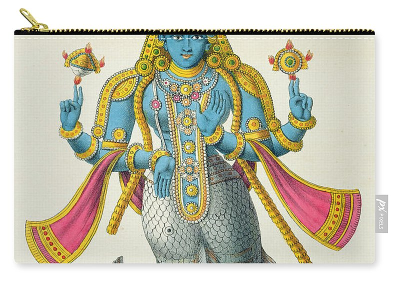 Scales Carry-all Pouch featuring the drawing Matsyavatara Or Matsya, From Linde by A. Geringer