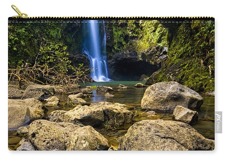 3scape Photos Carry-all Pouch featuring the photograph Maui Waterfall by Adam Romanowicz