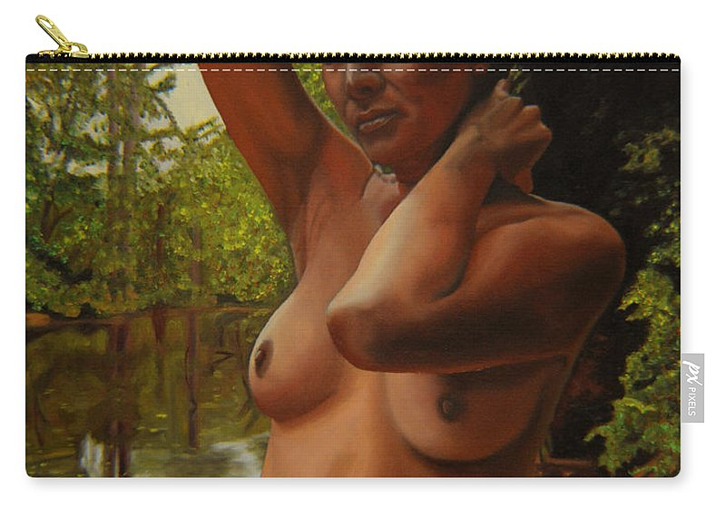 Nude Carry-all Pouch featuring the painting May Morning Arkansas River 4 by Thu Nguyen