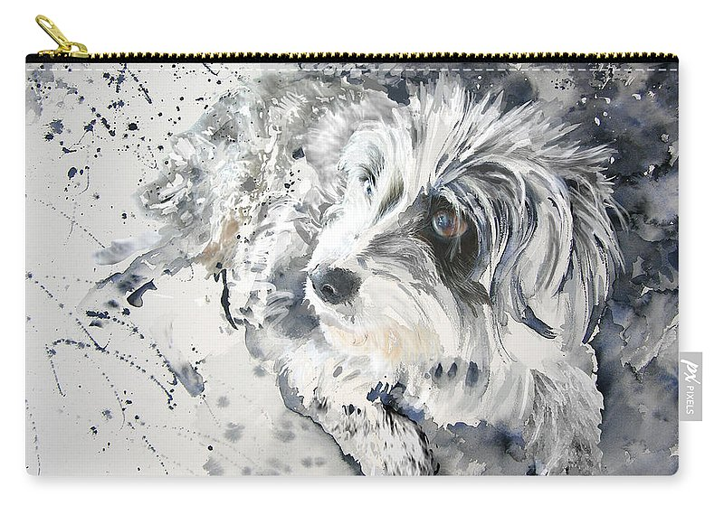 Dog Painting Carry-all Pouch featuring the painting Maya by Miki De Goodaboom