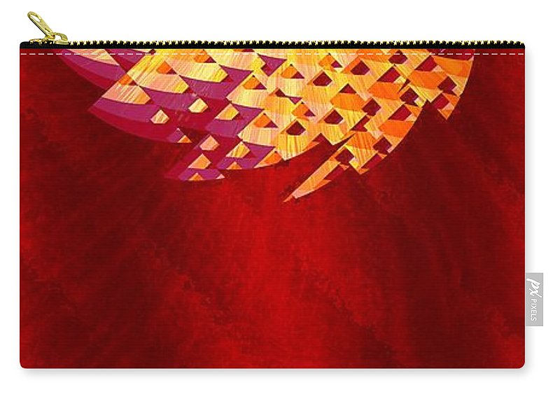 Abstract Carry-all Pouch featuring the digital art Mayan Sun by Richard Kelly
