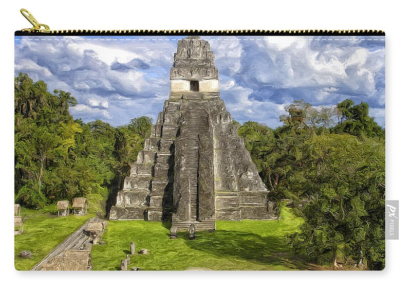 Mayan Carry-all Pouch featuring the painting Mayan Temple At Tikal by Dominic Piperata