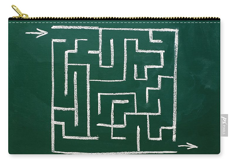 Maze Carry-all Pouch featuring the photograph Maze On A Chalkboard by Chevy Fleet