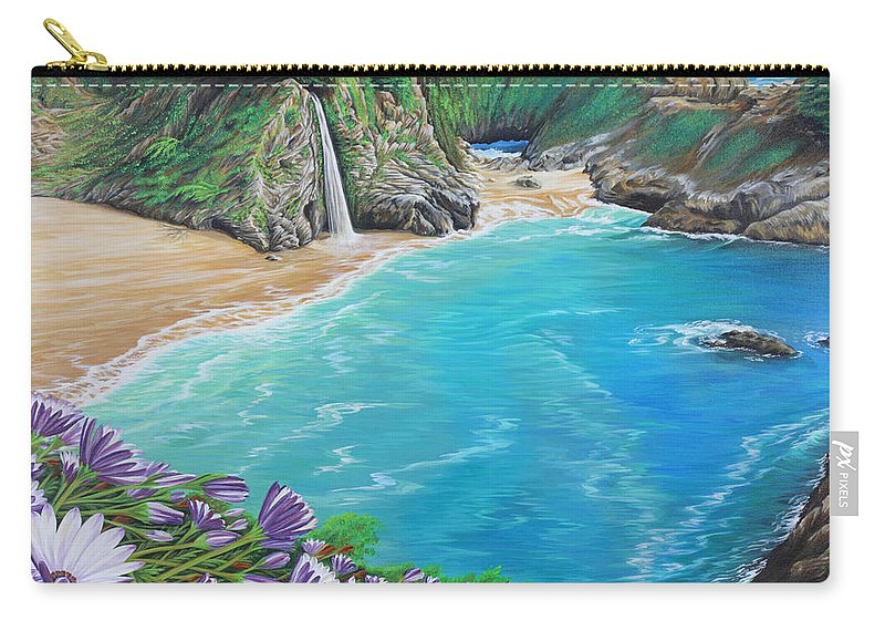 Beach Carry-all Pouch featuring the painting Mcway Falls by Jane Girardot