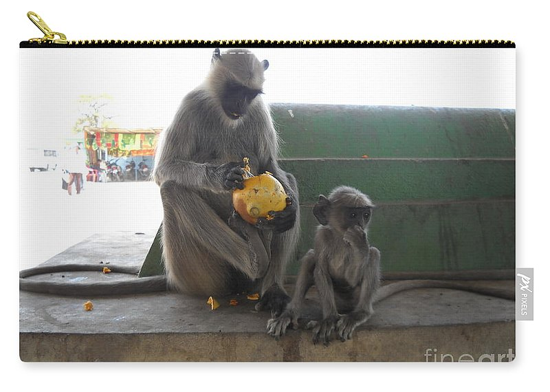 Monkey Carry-all Pouch featuring the photograph Meal Time by ShitlaPrasad Gupta