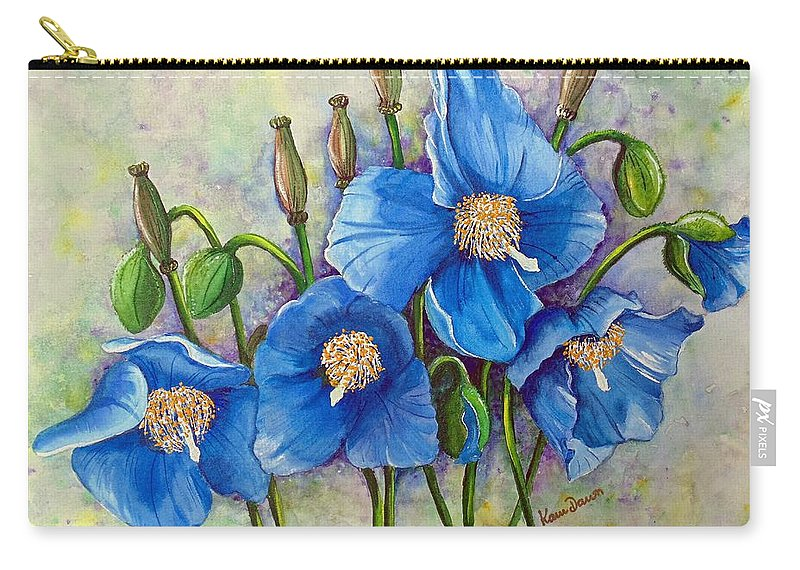 Blue Hymalayan Poppy Carry-all Pouch featuring the painting MECONOPSIS  Himalayan Blue Poppy by Karin Dawn Kelshall- Best
