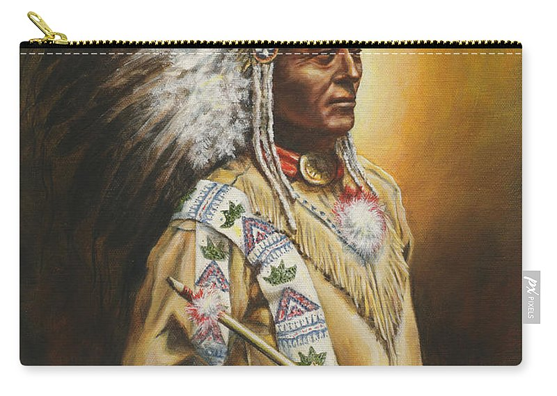 Western Carry-all Pouch featuring the painting Medicine Chief by Kim Lockman