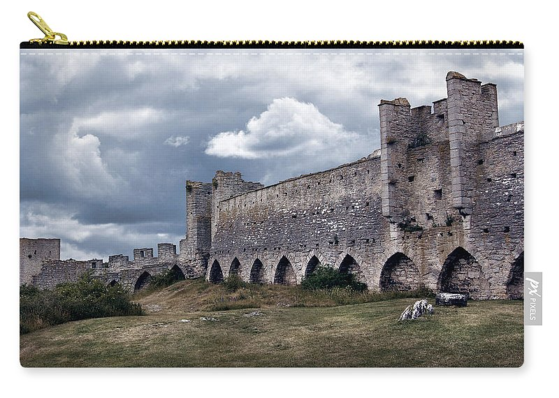 Big Carry-all Pouch featuring the photograph Medieval City Wall Defence by Dreamland Media