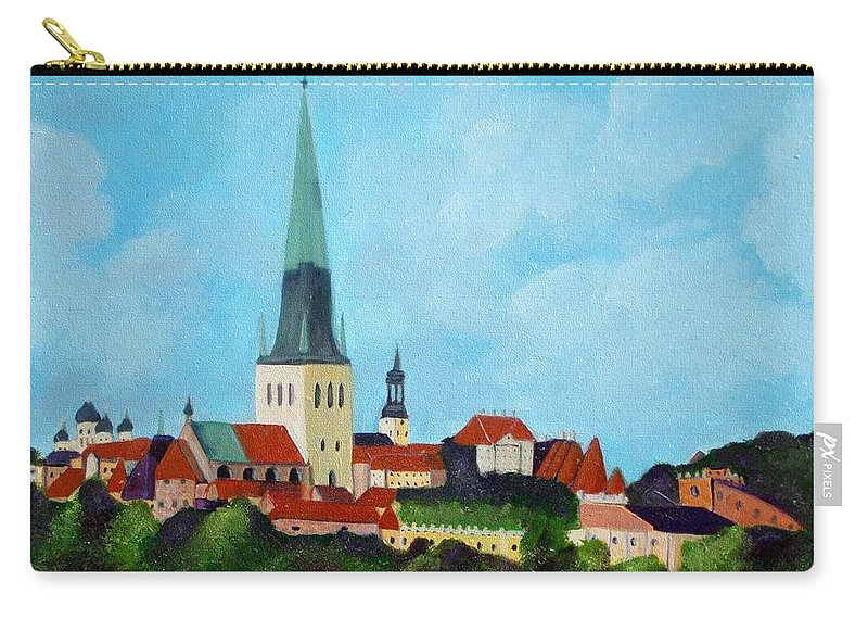 Tallinn Carry-all Pouch featuring the painting Medieval Tallinn by Laurie Morgan