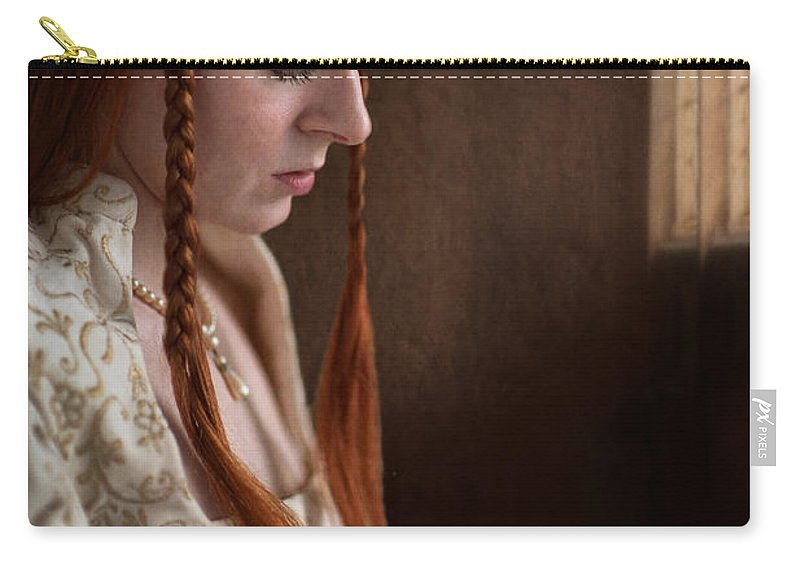 Medieval Carry-all Pouch featuring the photograph Medieval Tudor Woman With Red Hair by Lee Avison