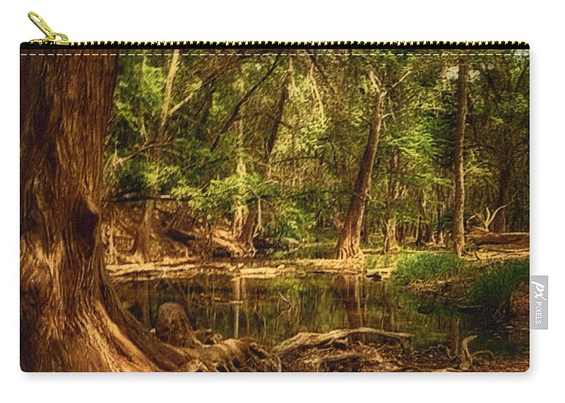 Medina River Cypress Trees Carry-all Pouch featuring the photograph Medina River Cypress Trees by Priscilla Burgers