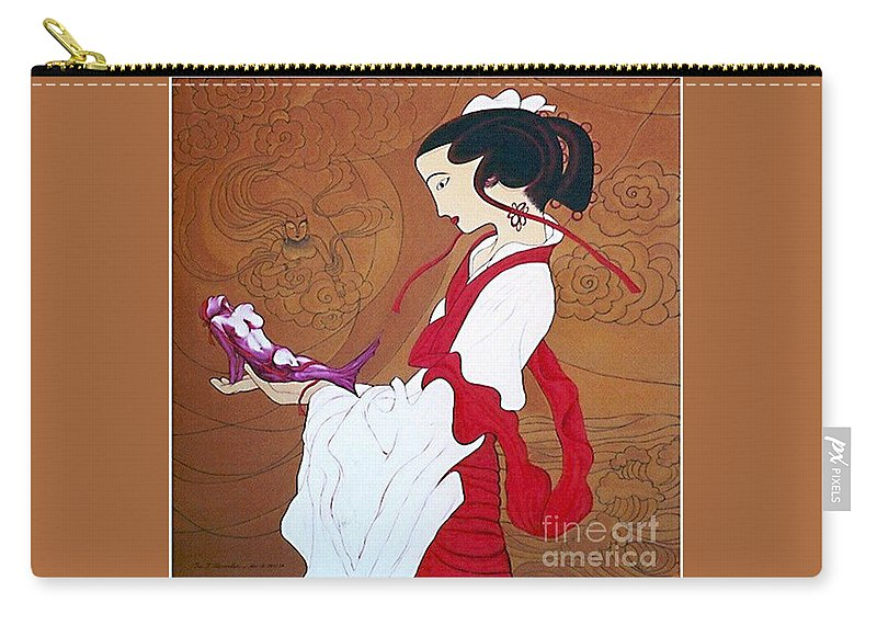 Surrealism Carry-all Pouch featuring the painting Meditation by Fei A