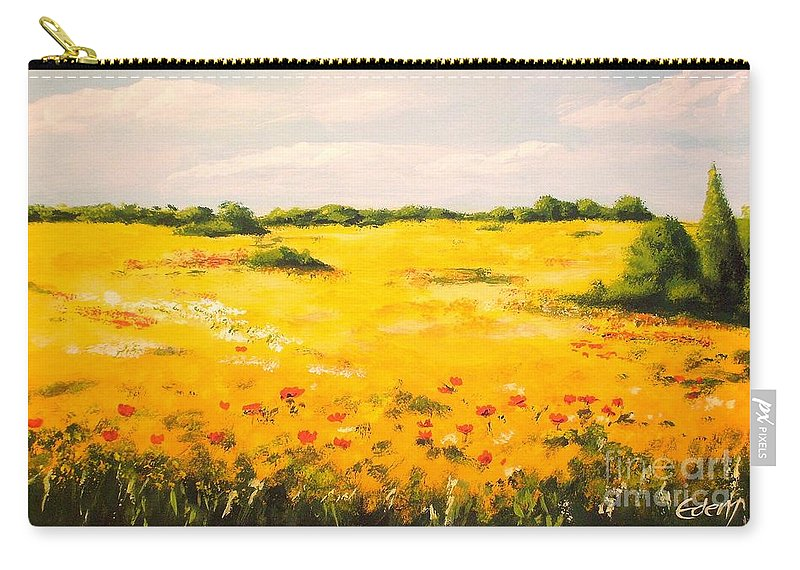 Landscape Carry-all Pouch featuring the painting Mediterranean Landscape by Voros Edit