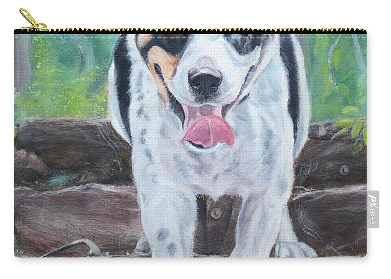 Border Collie X American Bulldog Carry-all Pouch featuring the painting Meeko by Deborah Cullen