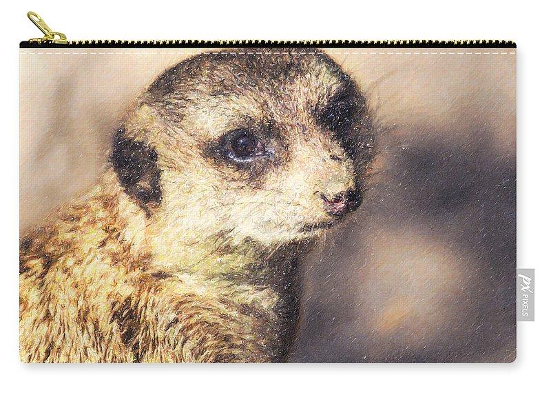 Meerkat Carry-all Pouch featuring the digital art Meerkat Suricata Suricatta by Liz Leyden
