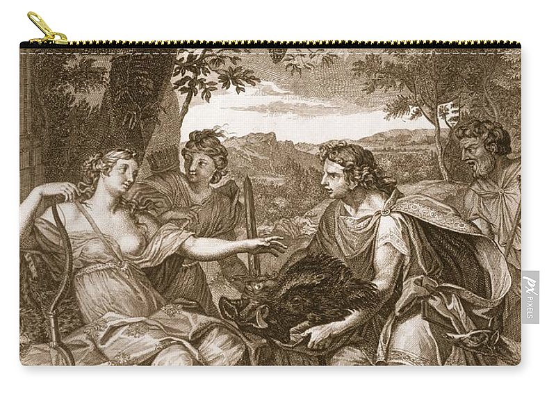 Presenting Carry-all Pouch featuring the drawing Meleager Presents The Boars Head by Bernard Picart