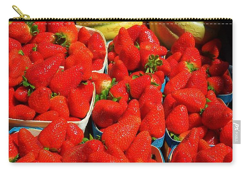 Melon Carry-all Pouch featuring the photograph Melons And Strawberries by Dany Lison