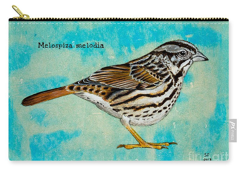 Carry-all Pouch featuring the painting Melospiza Melodia by Stefanie Forck