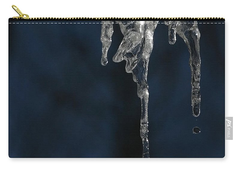 Icicle Carry-all Pouch featuring the photograph Melting Icicle Formation The Joker by Donna Haggerty