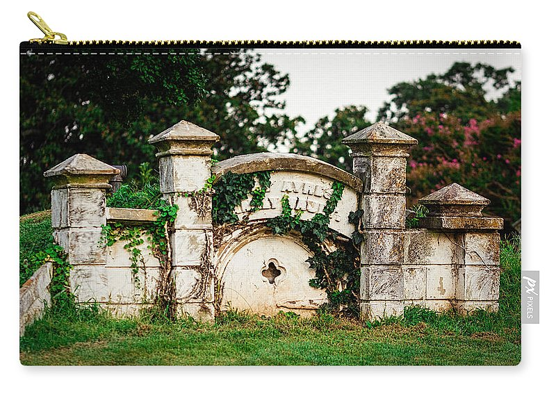 Memphis Carry-all Pouch featuring the photograph Memphis Elmwood Cemetery - Ayres Family Vault by Jon Woodhams