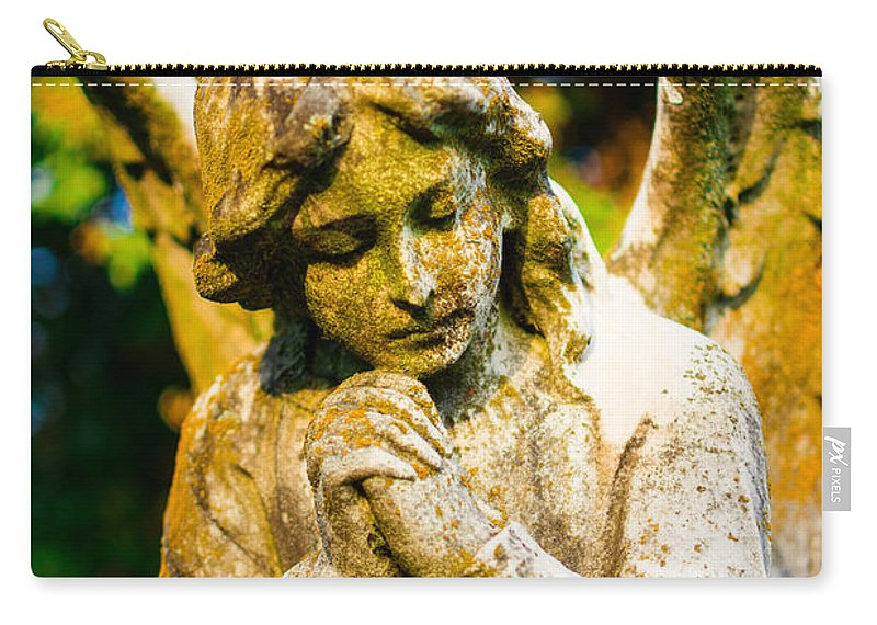 Memphis Carry-all Pouch featuring the photograph Memphis Elmwood Cemetery - Praying Angel by Jon Woodhams