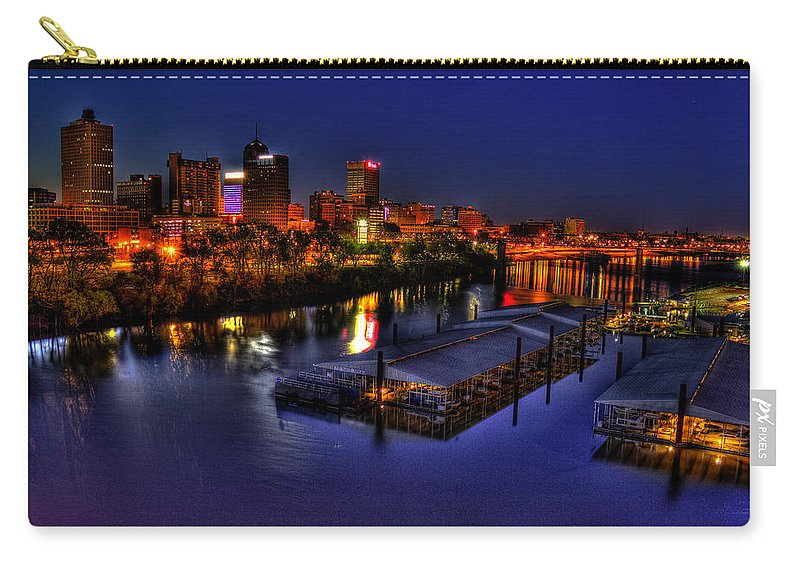 Reid Callaway Memphis Sunrise Carry-all Pouch featuring the photograph Memphis Tn Just Before Dawn by Reid Callaway