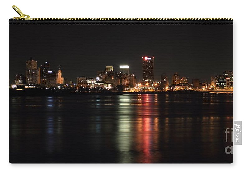 Reid Callaway Memphis Sunrise Carry-all Pouch featuring the photograph Memphis Tn Skyline At Night by Reid Callaway