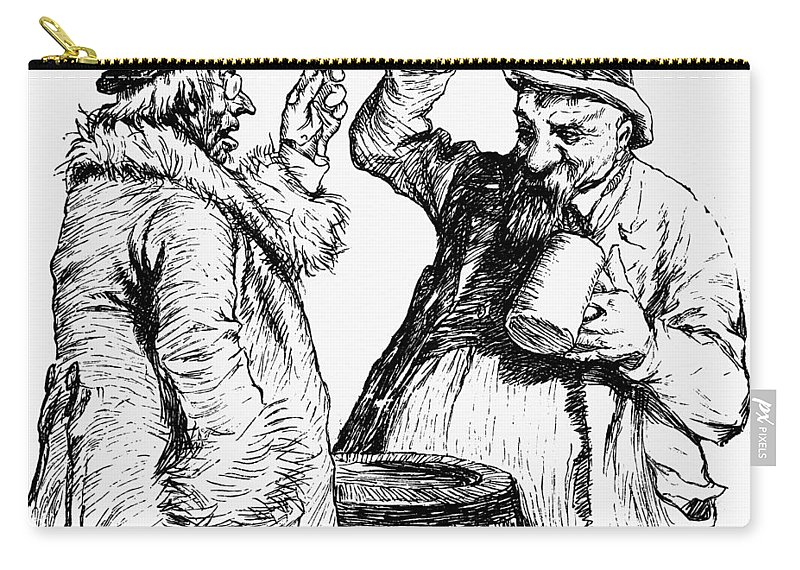1900 Carry-all Pouch featuring the drawing Men Drinking, 1900 by Granger