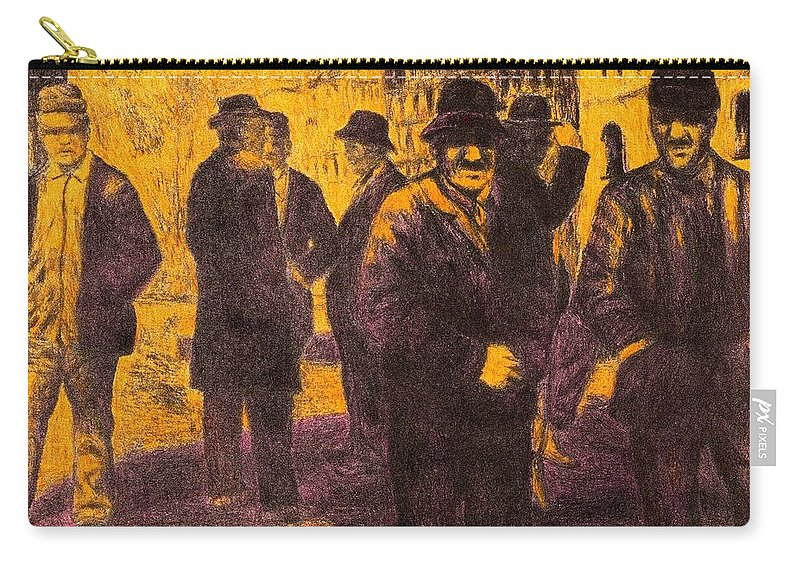 Men Carry-all Pouch featuring the drawing Men in Orange Light by Kendall Kessler