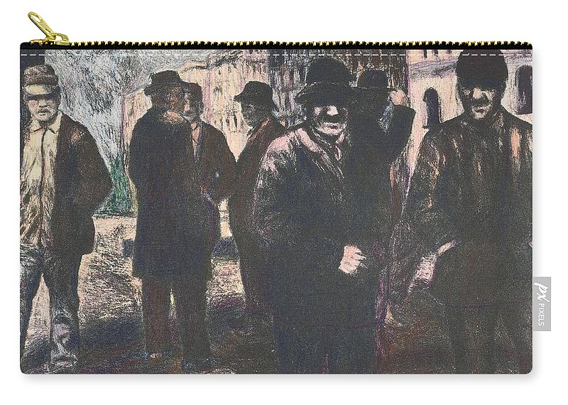 Men Carry-all Pouch featuring the drawing Men in Yellow Light by Kendall Kessler