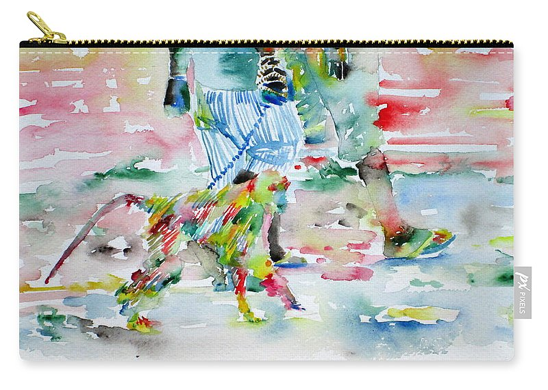 Men Carry-all Pouch featuring the painting Men With Chained Monkey by Fabrizio Cassetta