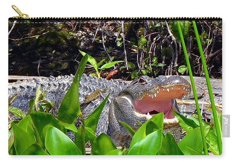 Alligator Carry-all Pouch featuring the photograph Menacing Mouth by Carla Parris