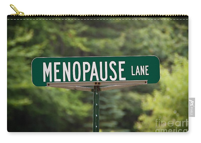 New York Carry-all Pouch featuring the photograph Menopause Lane Sign by Sue Smith