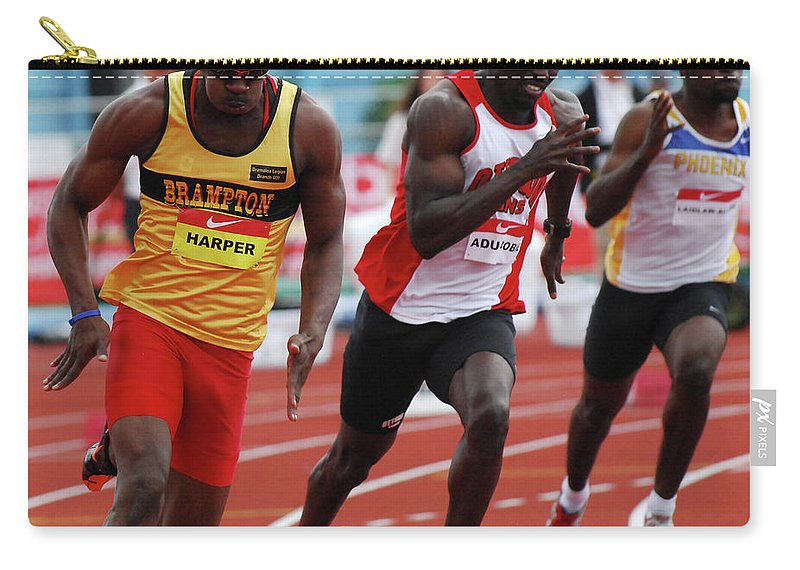 Canadian Track And Field National Championships 2011 Carry-all Pouch featuring the photograph Mens 200 Meter by Bob Christopher