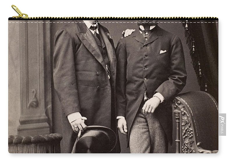 1880 Carry-all Pouch featuring the photograph Men's Fashion, 1880s by Granger