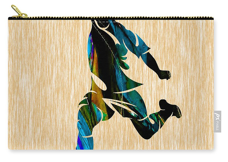 Soccer Carry-all Pouch featuring the mixed media Mens Soccer by Marvin Blaine