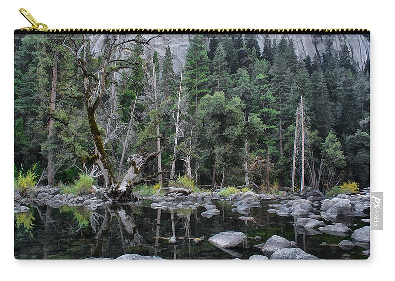 Trees Carry-all Pouch featuring the photograph Merced River by Erika Fawcett