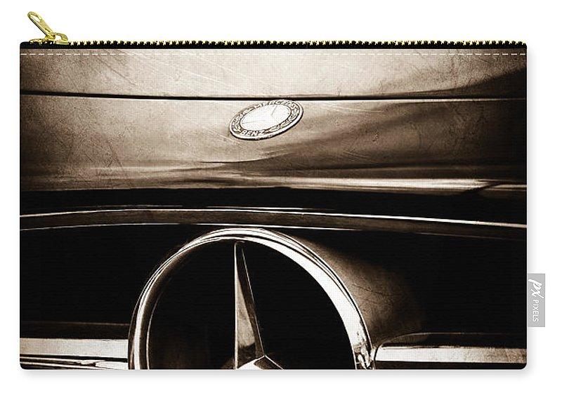 Mercedes-benz Grille Emblem Carry-all Pouch featuring the photograph Mercedes-benz Grille Emblem by Jill Reger