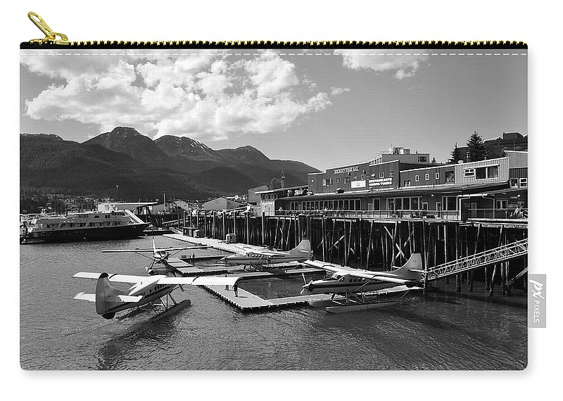 Wharf Carry-all Pouch featuring the photograph Merchants Wharf In Black And White by Cathy Mahnke