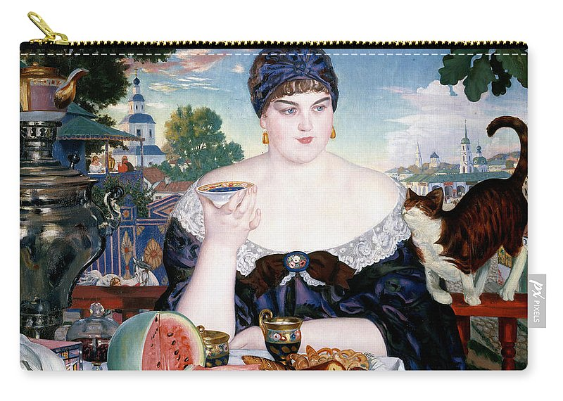 Boris Kustodiev Carry-all Pouch featuring the painting Merchants Wife At Tea by Boris Kustodiev