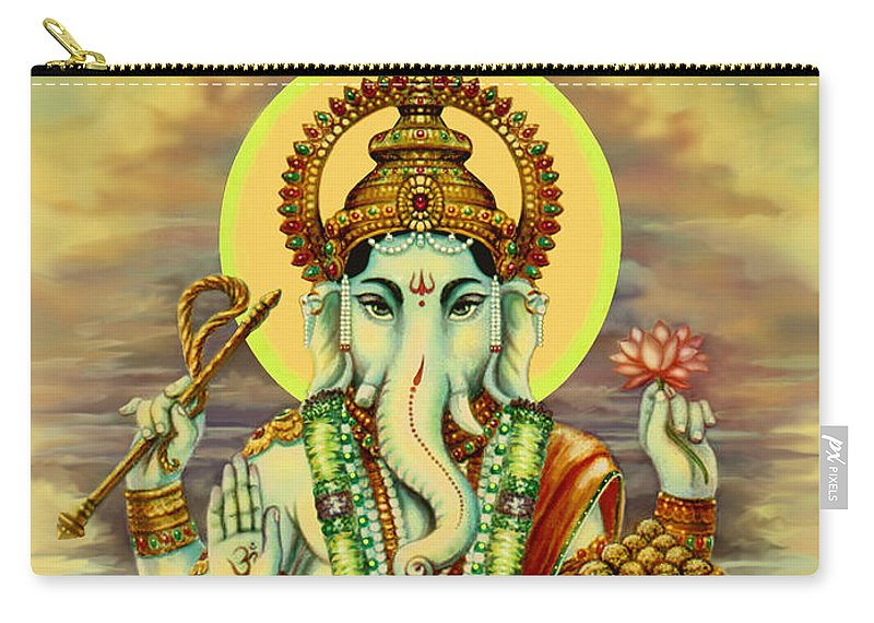 Ganesh Tees Carry-all Pouch featuring the painting Merciful Ganesha by Svahha Devi