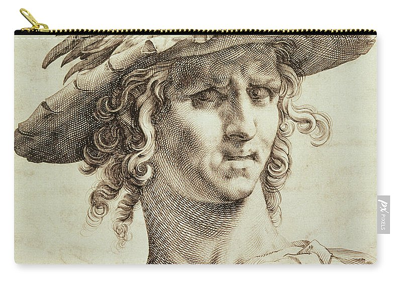 Mercurius Carry-all Pouch featuring the drawing Mercury by Hendrik Goltzius