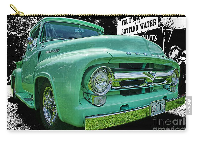 Trucks Carry-all Pouch featuring the photograph Mercury Truck Bw Background by Randy Harris