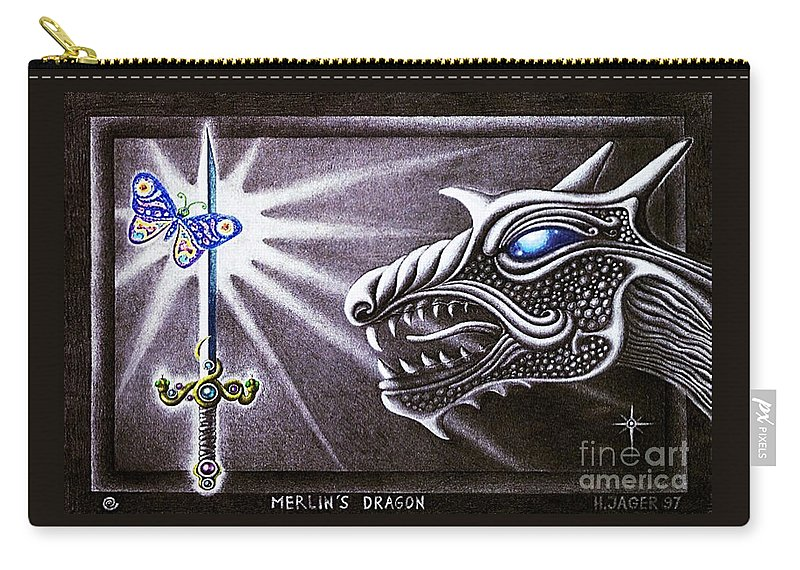 Merlin Carry-all Pouch featuring the drawing Merlin's Dragon by Hartmut Jager